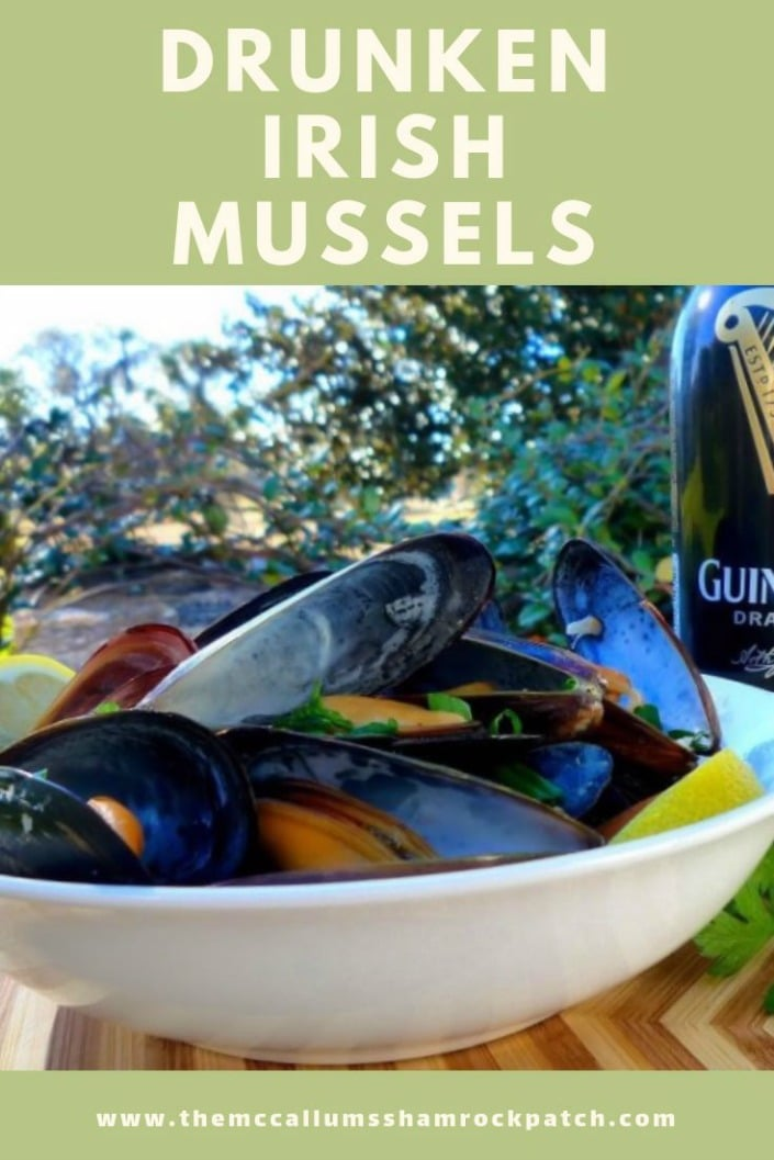 Drunken Irish Mussels in Guinness Sauce are fresh mussels deliciously flavored with heavy cream, fresh lemon juice, sweet butter, and various other flavors is a wonderful American Irish tradition in our home. It's enjoyed slowly with a delicious Guinness beer, and bread to sop up the tasty sauces.
