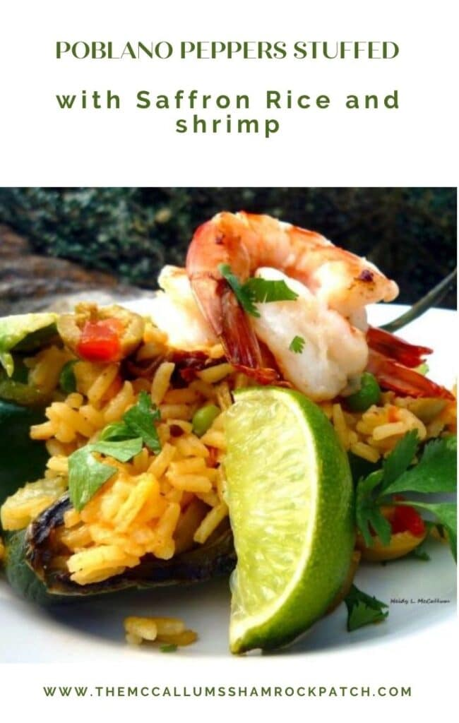 Poblano Peppers Stuffed with Saffron Rice and shrimp