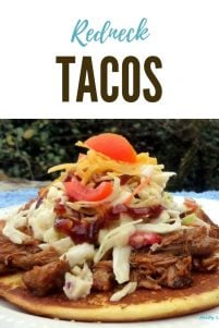 Red Neck Tacos are a far cry from the traditional Tacos that you and your family are used to having, made with tender delicious flavorful Pulled Pork doused in the finest barbecue sauce, resting on a delicious corn cake,topped with homemadecrunchy coleslaw, fresh ripe tomatoes, and cheese.