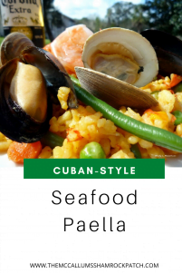 Cuban Seafood Paella is a favorite in our household. There are many ways to make this dish ranging from SUPER complicated, to relatively simple.