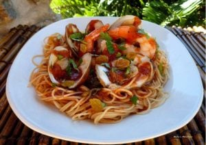 Angel Hair Pasta with Simple Red Sauce and Shellfish is made from quality organic tomatoes, various seafood such as clams, oysters, shrimp, Italian herbs,and seasoning.