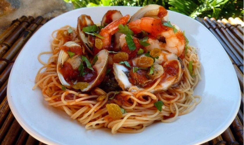 Angel Hair Pasta with Red Sauce and Shellfish