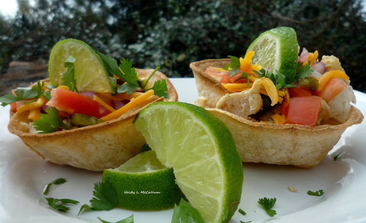 Chicken Taco Cups & Homemade Salsa with roasted poblano chile