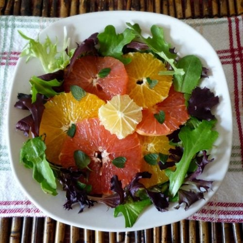 Vero Beach Citrus Salad is a super simple and delicious salad made with love from our Florida jewels of sweet navel oranges, ruby red grapefruits and tangy lemons with a hint of mint and a touch of olive oil and balsamic vinegar.