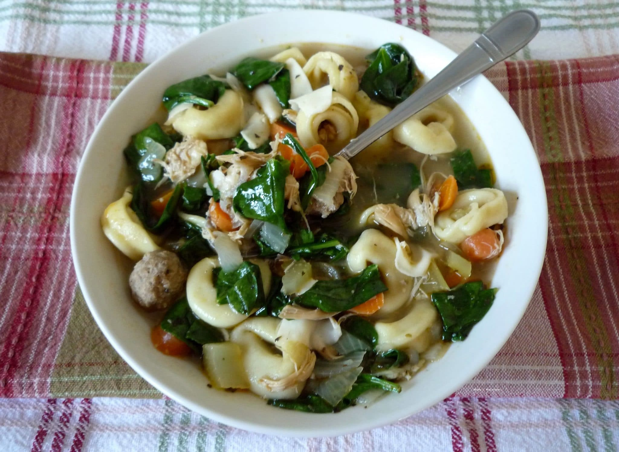 Italian Tortellini and Spinach soup