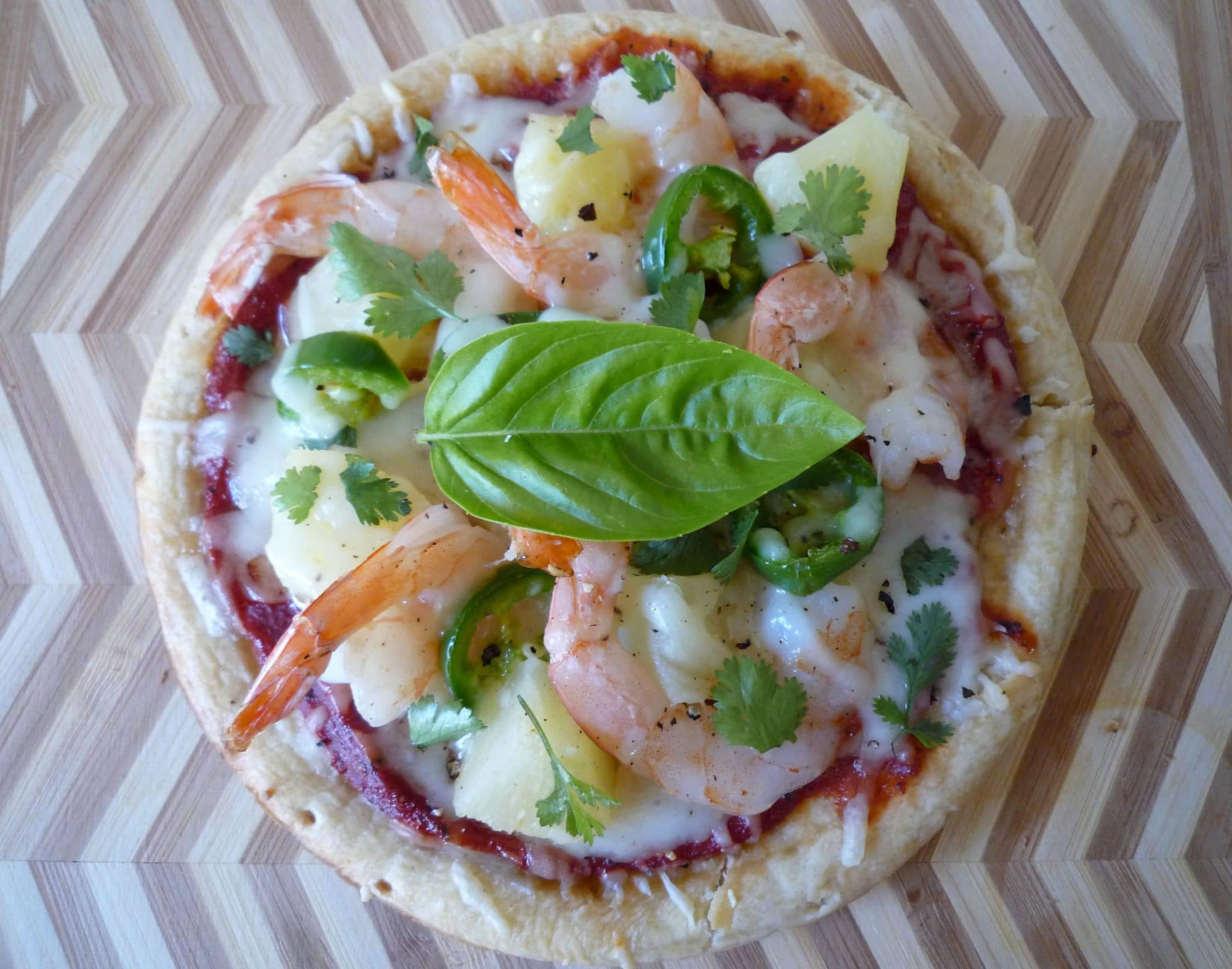 Shrimp and Pineapple Personal Pizza with Jalapenos