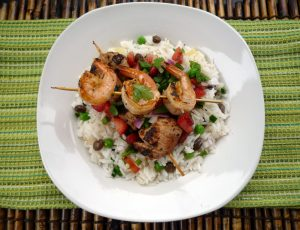 Spicy Mango Marinated Chicken and Shrimp Kabobs with Coconut Rice and fruit salsa
