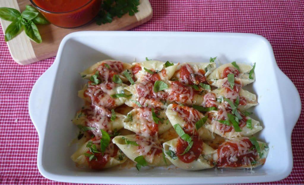 Stuffed #Shells with #Ricotta ,# Arugula , and fresh #Basil