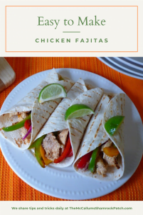 Chicken Fajitas made with tender Mojo Criollo marinated, boneless, skinless chicken breast seasoned with oregano, ground cumin, garlic, chili powder, crushed red pepper flakes, and fresh lime juice all wrapped snuggly in a warm, soft tortilla loaded with onions and peppers for the perfect Chicken Fajita.