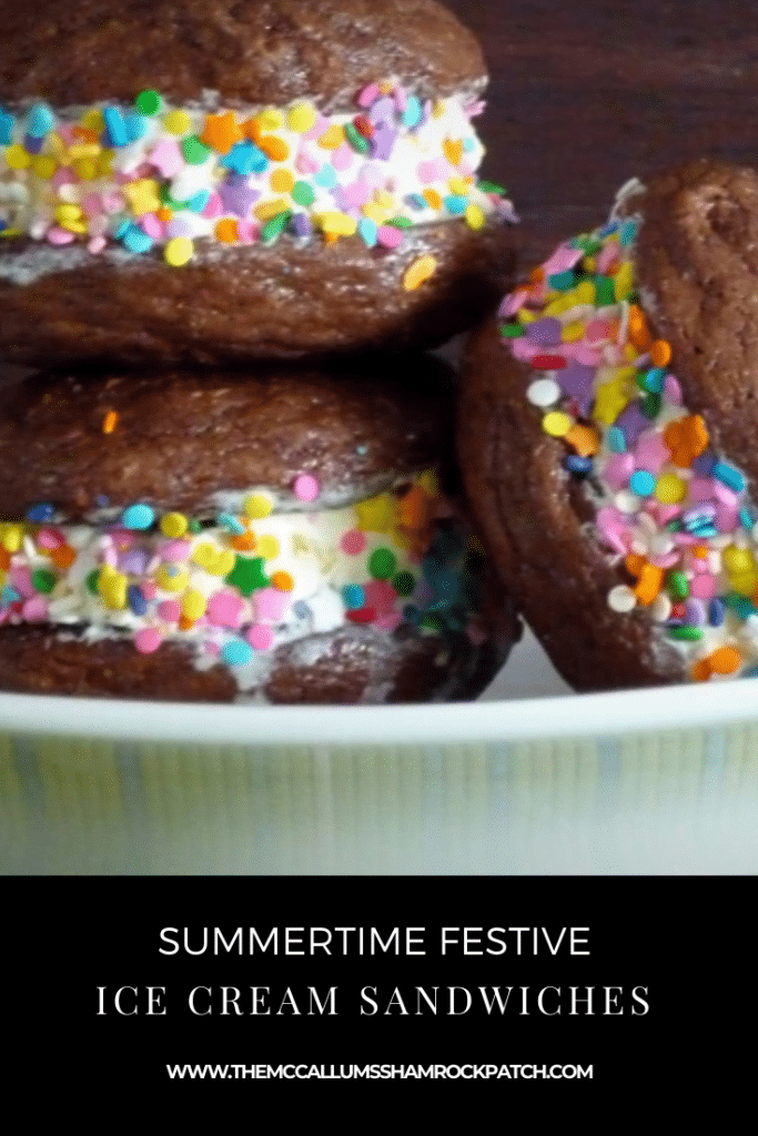 These Summertime Festive ice cream sandwiches are as easy as 1. 2. 3.! They have a little Secret Ingredient in them! Imagine Brownie Cookies with a hint of Chili Powder. It's perfectly paired with the Chocolate and Vanilla Flavors!