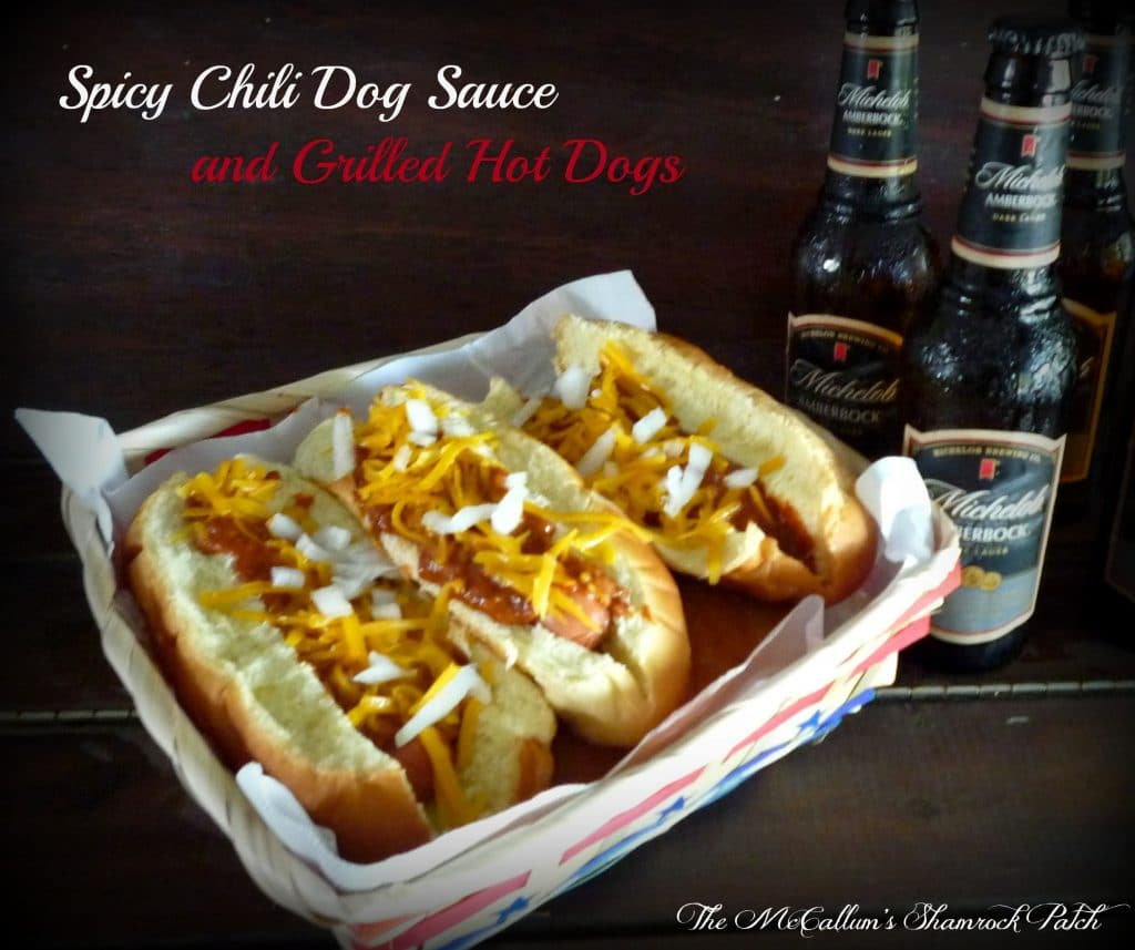 CrockPot Spicy Chili Dog Sauce and Grilled Hot Dogs