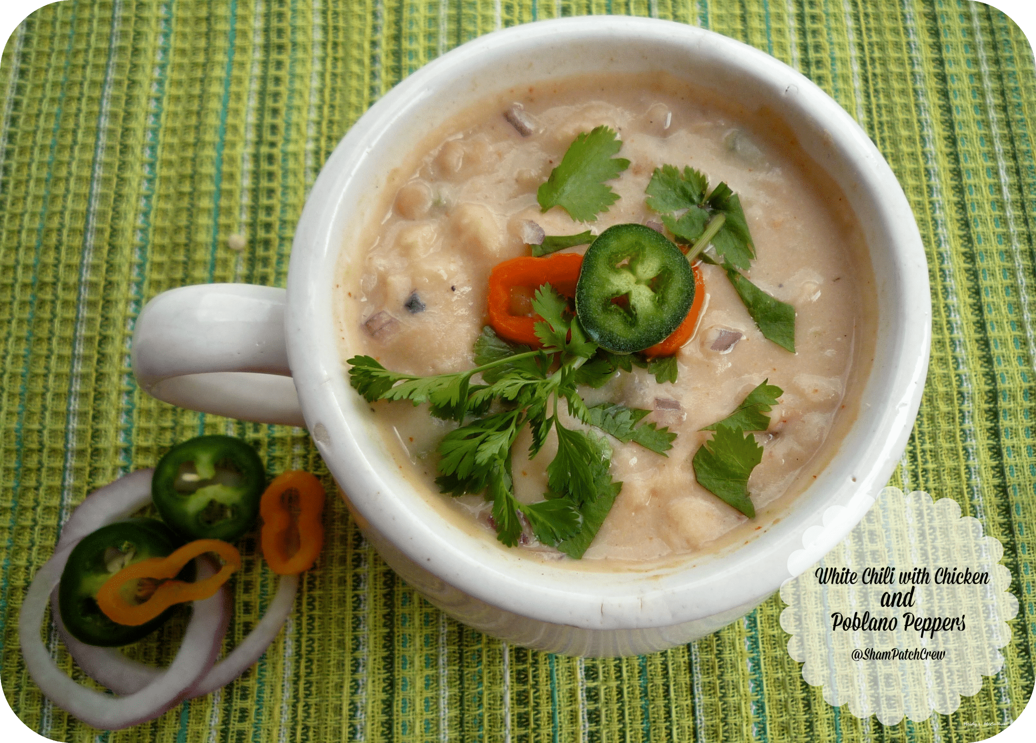 White Chili with Chicken and #Poblano Peppers The Chili Trilogy #chili #blackbeans #northernbeans #redbeans