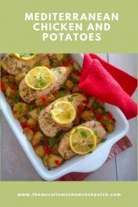 Mediterranean Chicken and Potatoes combines a wonderful arrangement of simple ingredients such as Chicken, tomatoes, Potatoes, Lemons, Garlic, Oregano, and Rosemary. You will find this recipe is fairly easy and low maintenance while baking. It's a perfect casserole for any occasion.