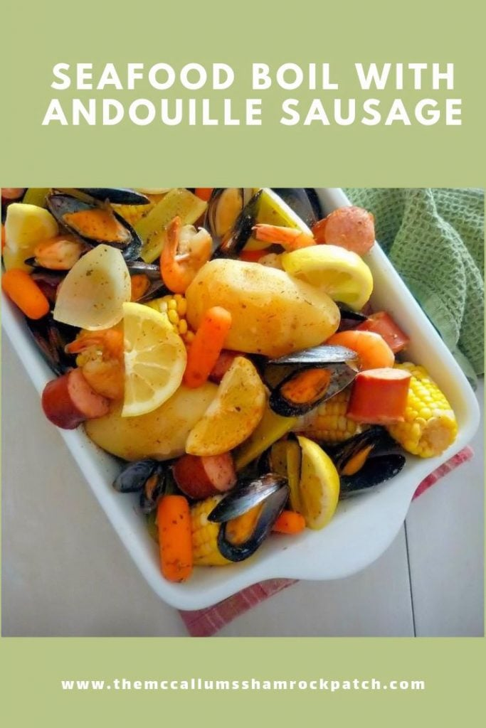 "Seafood Boil with Andouille Sausage is a wonderful combination of Mussels, Shrimp, Andouille Sausage, Potatoes, Carrots, and Spices is Guaranteed to make you smile. The recipe is simple and easy... It also comes with a Bonus ""It's made in one Pot"", That means less of a mess for later."