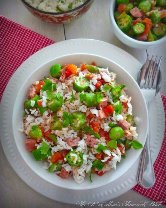 This wonderful recipe for Creole Tomatoes Okra and Rice contains sweet juicy ripe Creole Tomatoes along with Okra and can be served in many ways. It can be used as a side dish to compliment your meal or as a main dish. Creole Tomatoes Okra and Rice contains Andouille Sausage and bacon drippings.