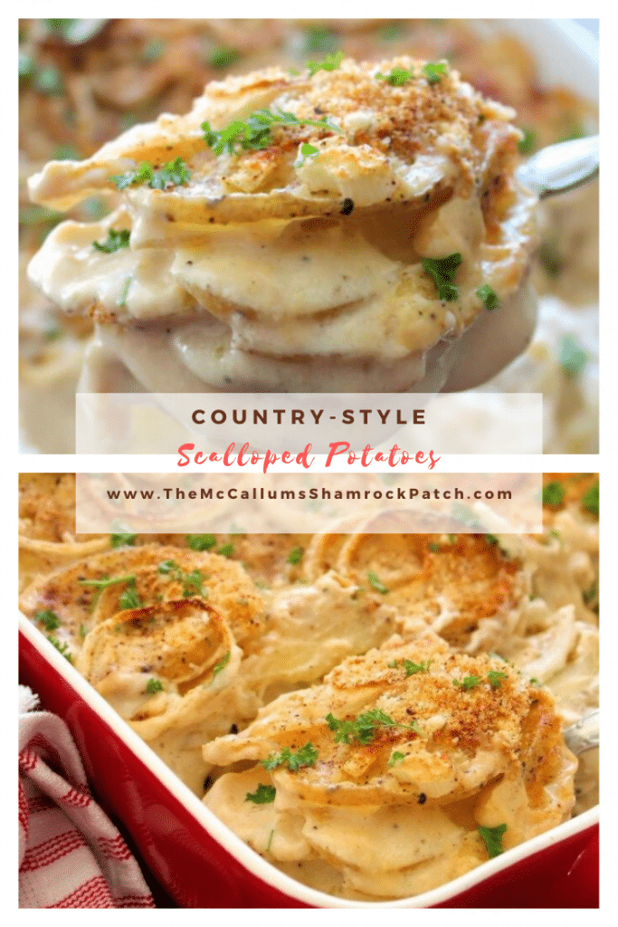 Delicious creamy Country-Style Scalloped Potatoes are the perfect menu item this time of year. Made with Russet potatoes, onions, heavy cream, half and half cream, garlic, and a simple seasoning of nutmeg, kosher salt, and freshly ground pepper, all baked to perfection in a warm cozy oven.