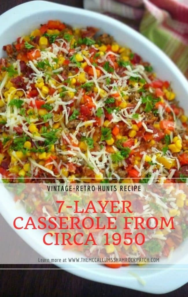 My version of The 7-layer Casserole contains Organic GMO-Free corn kernels, ground turkey, long-grain rice, Vidalia onions,  diced tomatoes with chiles, yellow and red bell peppers, Vermont White Cheddar, crisp Hickory smoked bacon, and chopped parsley.