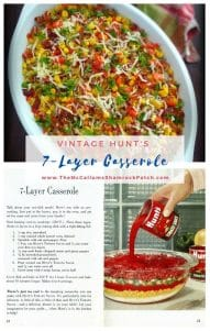 The 7-layer Casserole contains Organic GMO-Free corn kernels, ground turkey, long-grain rice, Vidalia onions, diced tomatoes with chiles, yellow and red bell peppers, Vermont White Cheddar, crisp Hickory smoked bacon, and chopped parsley.