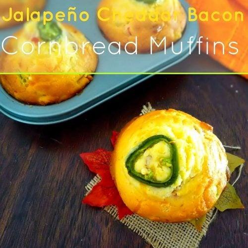 These absolutely delicious, bold-flavoredJalapeño Cheddar Bacon Cornbread Muffins will astound your family, friends, and dinner guests every time you make them. They combine a sweet corn muffin with spicy jalapeño peppers, sharp cheddar cheese, sweet yellow corn, and hickory smoked bacon to completely take ordinary Corn Muffins over the top. They're perfect served with Chili, or even by themselves as a tasty snack.