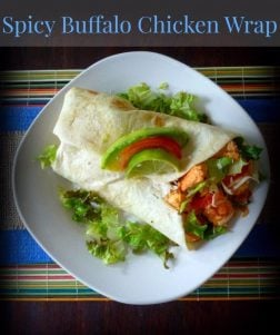 This delightfully Spicy Buffalo Chicken Wrap is one of my favorite quick meals with a winning combination of white Chicken Breasts, Hot Sauce, creamy Buttermilk Ranch Dressing, crisp Romaine Lettuce, Extra Sharp White Cheddar Cheese, Ripe chopped Tomatoes, delicious Avocado slices, and a subtle squeeze of Lime to kick off the layer of awesome flavors!