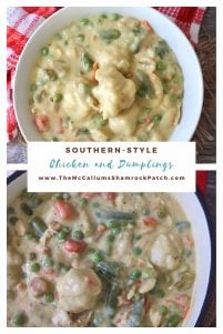 """Southern-Style Chicken and Dumplings has a soothing flavor with a delightful texture of stewed chicken, and delicious homemade dumplings in the thickened broth that will capture any Southern Soul the way Scarlett O'Hara would have liked to have won the dashing Rhett in the famous black and white movie """"Gone With the Wind."""""""