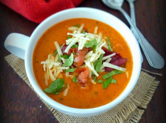 Tomato Basil Soup with Asiago & Bacon