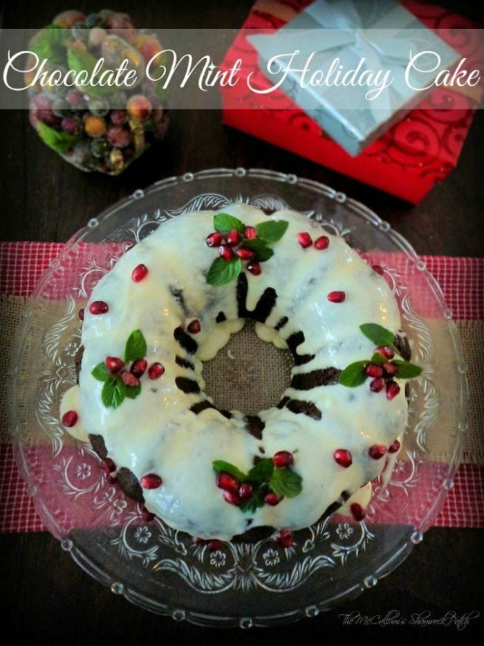 Place cake on your favorite Holiday Cake dish, drizzle Near perfect Buttercream Glaze carefully over cake and let it flow down the sides of your bundt cake, place smaller chocolate mint leaves on 4 various areas of cake in small bunches, place pomegranate seeds in a design with leaves. Sprinkle some of the excess pomegranate seeds around the cake to increase the festivity of the cake.