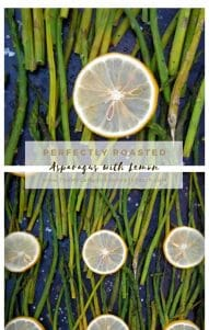 Asparagus with the fresh, clean taste of sliced lemons, drizzled in olive oil makes a perfect pairing with a hint of sea salt and freshly cracked peppercorns.