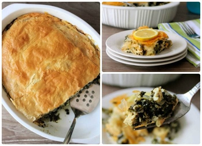 "Greek-inspired Chicken Spinach & Feta Pie is a twist on an old Greek recipe ""Spanakopita""  combining Chicken, organic Spinach, onion, fresh garlic, lemon, feta cheese,  fresh herbs, and spices all contained in a rich buttery flaky Phyllo (Filo) dough."