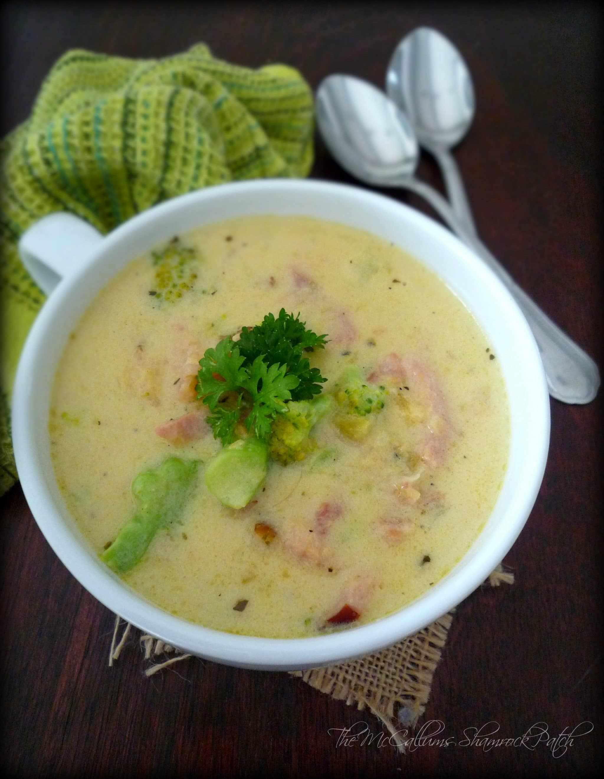 Broccoli and cheese soup with ham