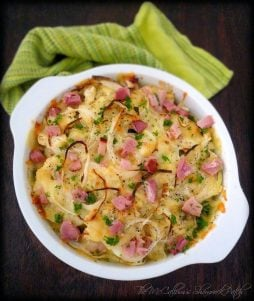 Cauliflower Au Gratin is a delicious easy to make the alternative to Potatoes Au Gratin that you'll love making when your craving a comfort food casserole. It combines Healthy Cauliflower, heavy cream, half and half cream, Swiss cheese, parmesan cheese, and smoky ham for an all-star casserole to serve your family.