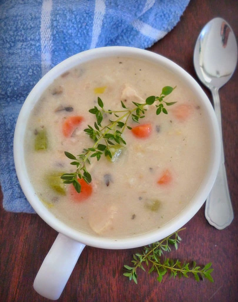 Homemade Creamy Chicken Soup- Chunky Style is the perfect winter warmer combining diced white chicken breasts, carrots, celery and sweet onions in a delicious homemade creamy soup base that has been seasoned with the perfect amount of herbs and spices to warm your belly and put a smile on your lips.