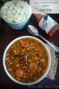 15 bean Cajun Soup is a delicious slightly spicy recipe that is almost effortless utilizing a fast cook method with Hurst's® 15 Bean Soup, a homemade Roux, Andouille Sausage, onions, carrots, celery, minced garlic, diced tomatoes with chilies, hot sauce and Cajun seasoning served over white rice.