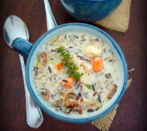 Chicken and Wild Rice Soup is a deliciously wonderful combination of all white meat chicken, non-GMO wild rice blend, celery, onions, carrots, chicken broth, half and half cream, crème fraîche and wonderful herbs and spices to warm your tummy this winter.