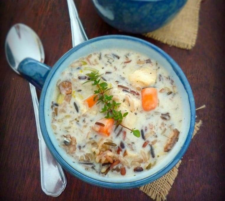 Chicken and Wild Rice Soupis a deliciously wonderful combination of all white meat chicken, non-GMO wild rice blend, celery, onions, carrots, chicken broth, half and half cream, crème fraîche and wonderful herbs and spices to warm your tummy this winter.