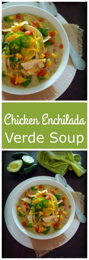Chicken Enchilada Verde Soup was  inspired by my Chicken Enchilada with Verde Sauce   recipe made with shredded chicken breast, fresh tomatillos, cloves of garlic, jalapeno, green chile peppers, fresh diced tomatoes, sharp cheddar cheese, cilantro, and lime and topped with sour cream, chopped cilantro, homemade tortilla strips and diced avocado.