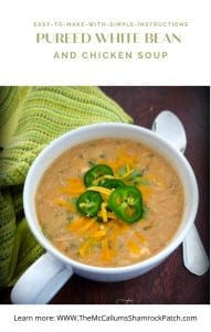 Pureed White Bean & Chicken Soup is a delicious soup that pays homage to my Italian roots while celebrating my love for a Mexican flare utilizing Tuscan beans, shredded chicken breasts, onions, garlic, heavy cream and perfectly seasoned with chopped cilantro, cumin, Mexican oregano. This wonderfully flavored soup is topped with sharp cheddar cheese, jalapeno slices, and extra chopped cilantro for maximum deliciousness in every bite.