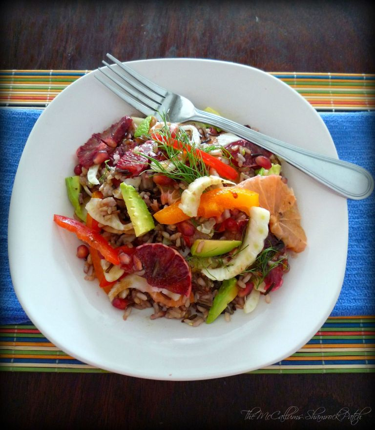 Healthy Wild Rice & Citrus Salad is a beautiful winter salad to enjoy with a light meal for lunch or dinner combining healthy yet delicious, nutty flavor of a wild rice blend with perfectly ripe Florida Blood oranges, sweet pink grapefruit, fennel, sweet red bell peppers, yellow bell peppers, fresh ripe avocados, pomegranate seeds with a fabulous balsamic and oil dressing.