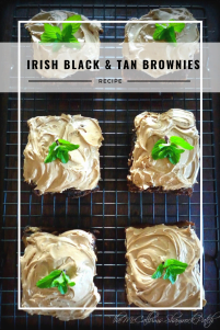 Irish Black & Tan Brownies are super easy to make by combining your favorite brownie mix with sinfully delicious milk chocolate, Guinness Stout, and Harp Lager topped with a fresh sprig of mint