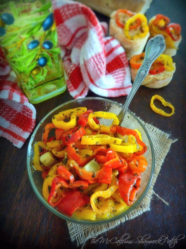 Fresh Italian Peppers in Olive Oil is perfect to compliment your next Italian meal. Every Italian family has their version of this delicious Italian recipe, and I have modified our original family recipe for a fresh taste every time. Combining multi-colored mini sweet peppers, raw cloves of garlic, hot pepper, and garlic-infused olive oil and seasoned with Italian herbs without all the fuss and worries of canning in oil.