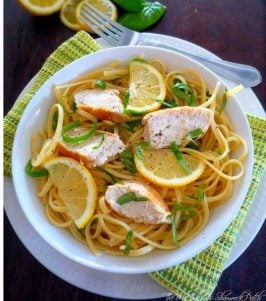 Simple Lemon Basil Pasta with Chicken is a classic dish with a fresh clean taste, nothing says fresh and clean more than my recipe for Simple Lemon Basil Pasta with Chicken utilizing fresh lemons off our tree, fresh garden grown basil, extra virgin olive oil, freshly grated Romano cheese and perfectly seasoned and grilled chicken over linguine noodles. It's so easy to make and delicious you're going to love it.