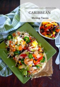 Caribbean Shrimp Tacos are the rage with me now, anything that combines succulent shrimp seasoned in Jamaicanjerk spice, creamy Hass avocados, mangos, pineapple, black beans, jalapeño peppers, sweet red peppers, red onions, cilantro, and lime all resting on a freshly grilled corn tortilla has my immediate attention.