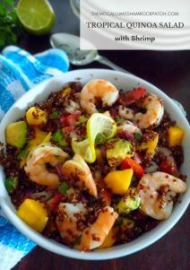 Tropical Quinoa Salad with shrimp adds a delicious tropical vibe to plain red quinoa combining succulent shrimp, mango, avocado, fresh strawberries, jalapeno peppers, sweet red peppers, cilantro, lime juice, authentic extra virgin olive oil, and simply seasoned with cumin, kosher salt, and peppers.