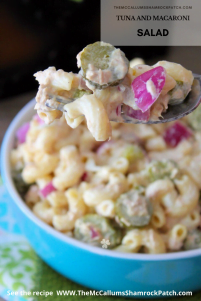 Tuna and Macaroni Salad is a simple, fresh tasting and a budget-friendly recipe we have made over the years in my household. Solid white albacore tuna, al dente macaroni, hard-boiled egg whites, diced red onions, fresh parsley, sliced dill gherkins pickles, mayonnaise, and a hint of freshly squeezed lemon juice make this Summer salad a winning combination for your next cookout.