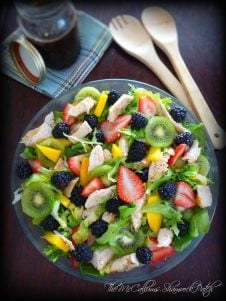 Blackberry Mint Balsamic Dressing is a gorgeous healthy step in the right direction this late spring, combining the fresh delightful flavors of fresh Blackberries, quality balsamic vinegar, garlic, Vidalia onions, pure organic honey, herb garden fresh mint, tarragon, and fresh sweet basil.