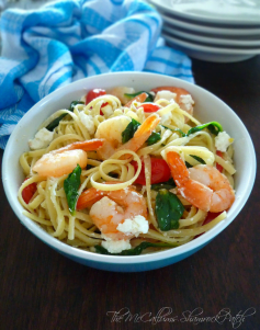 Linguine with Shrimp Spinach & Goats Cheese has all the freshest ingredients of summer, yet it is as easy as 1-2-3 to make for your family. It takes literallyless than 30 minutes from start to finish. Combining a winning ingredients list of al dente linguine, fresh shrimp, minced garlic, grape tomatoes, and fresh spinach with goat's cheese.