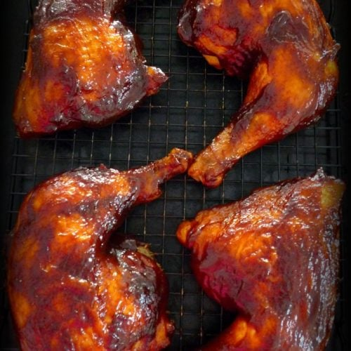 Rain or shine you'll be covered with this deliciouslySimple BBQ'd Chicken Leg Quartersrecipe that you can do on your grill or in your oven if it's raining this summer. These Simple BBQ'd Chicken Leg Quarters are so juicy you will want to have several extra napkins ready.