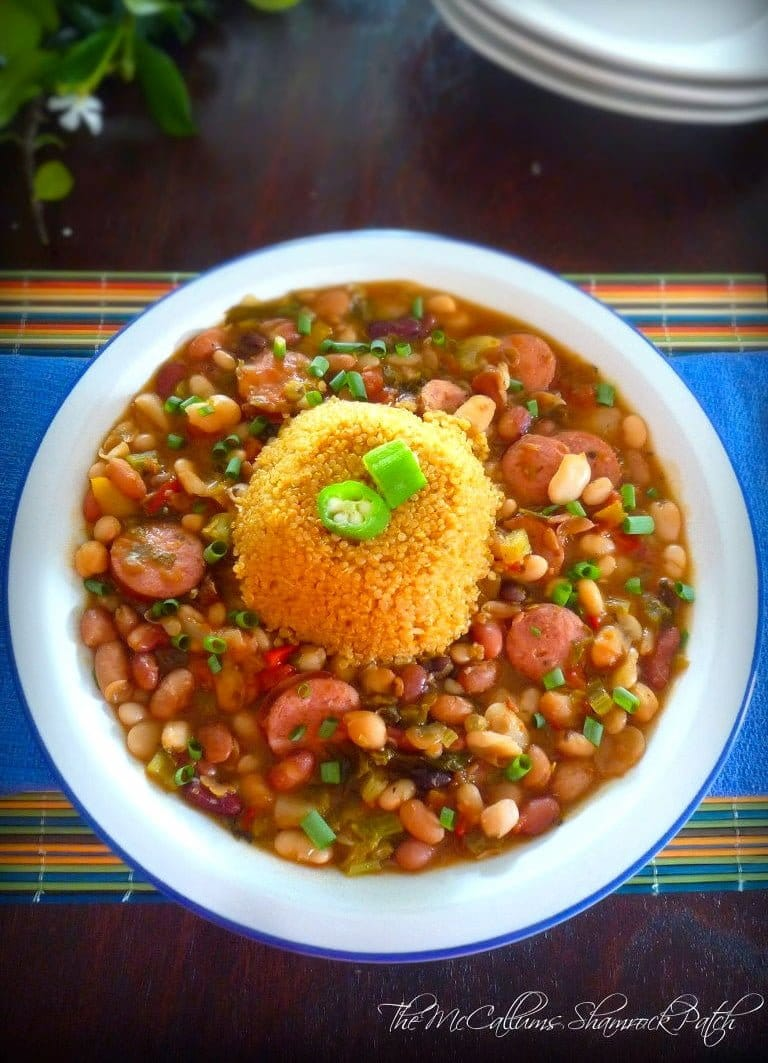 Cajun 15 Beans and Quinoa is a slightly spicy Cajun Homage made with 15 different beans, chicken broth, Ro*Tel tomatoes, Andouille sausage, yellow onions, red bell peppers, carrots, celery, minced garlic, and other wonderful Cajun flavors and seasonings served over Cajun Quinoa Rice.