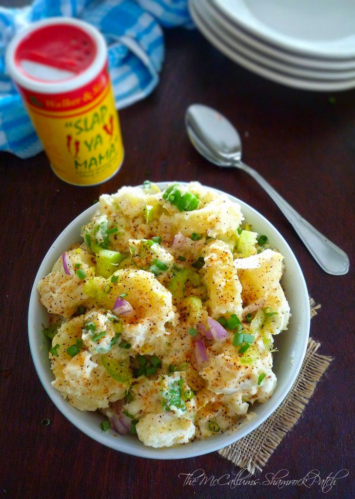 Cajun Style Potato Salad combines red-skin potatoes boiled in Slap Ya Mama Cajun Seasoning, celery, red onions, okra, sliced green onions, Cajun Style mustard, real mayonnaise, with Cajun spices and green onions for a new level of Cajun kick to your average Southern Potato salad you'll enjoy at your family BBQ's this summer.