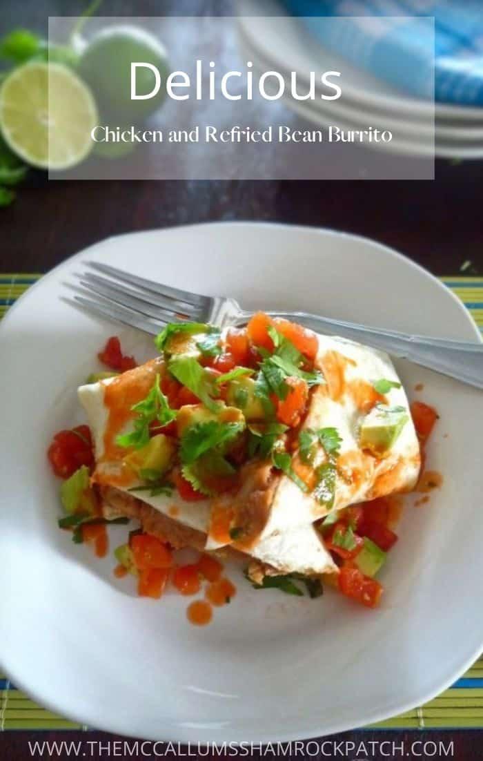 Chicken and Refried Bean Burrito